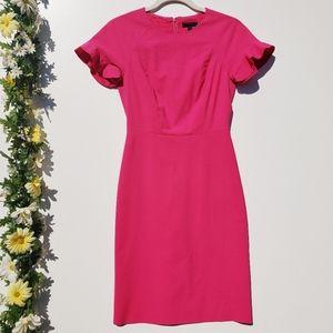 J. Crew Ruffle-Sleeve Sheath Dress Wool Pink 00